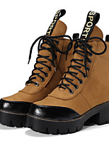 cheap -Women's Boots Block Heel Round Toe Casual Basic Daily Color Block Suede Booties / Ankle Boots Walking Shoes Black / Yellow
