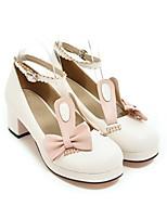 cheap -Women's Heels Wedge Heel Round Toe Sweet Daily Color Block PU White / Pink / Brown