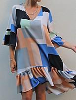 cheap -Women's Swing Dress Knee Length Dress - Half Sleeve Print Ruffle Patchwork Print Summer V Neck Casual Loose 2020 Rainbow S M L XXL 3XL