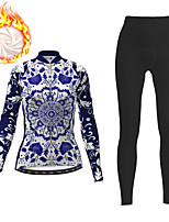 cheap -21Grams Women's Long Sleeve Cycling Jacket with Pants Winter Fleece Dark Blue Floral Botanical Bike Fleece Lining Breathable Warm Sports Floral Botanical Mountain Bike MTB Road Bike Cycling Clothing
