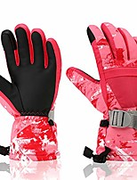 cheap -ski gloves,  winter waterproof warm touchscreen snow gloves mens, womens, boys, girls, kids (pink white-xs)