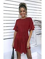 cheap -Women's Sheath Dress Short Mini Dress - Short Sleeve Polka Dot Ruffle Summer Sexy Going out Slim 2020 Black Red Green S M L XL