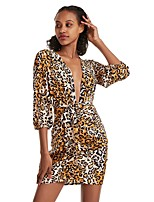 cheap -Women's A-Line Dress Short Mini Dress - 3/4 Length Sleeve Leopard Bow Print Summer V Neck Sexy Slim 2020 Blue Yellow Brown S M L XL XXL 3XL