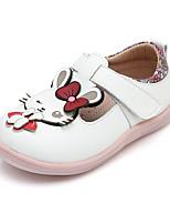 cheap -Girls' Flats Flower Girl Shoes PU Little Kids(4-7ys) Walking Shoes Bowknot / Split Joint White / Pink Spring / Fall