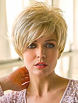 cheap -Human Hair Blend Wig Short Natural Straight Pixie Cut With Bangs Blonde Women Easy dressing Hot Sale Capless Women's Blonde