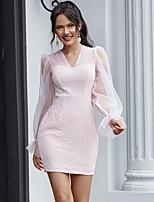 cheap -Women's Sheath Dress Short Mini Dress - Long Sleeve Solid Color Mesh Patchwork Summer V Neck Casual Lantern Sleeve 2020 Purple S M L