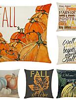 "cheap -Set of 6 Thanksgiving Pumpkin Linen Square Decorative Throw Pillow Cases Sofa Cushion Covers 18""x18"""