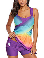 cheap -women sport swimdress tummy control swimwear slimming skirt tummy control gradient ruched swimsuits bathing suit purple 2xl 18 20