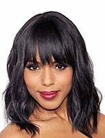 cheap -uqinz short orange wave curly bob wig with bang shoulder length synthetic wigs for women (14 inch)
