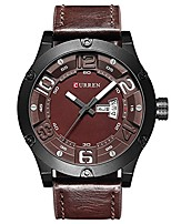 cheap -watch men luxury brand week date leather strap men sports watches quartz with box 8251 (coffee coffee)