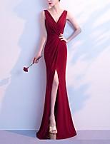 cheap -Mermaid / Trumpet Elegant Minimalist Party Wear Formal Evening Dress V Neck Sleeveless Floor Length Cotton with Sleek Split 2020