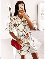 cheap -Women's Shift Dress Knee Length Dress - Half Sleeve Print Patchwork Print Fall Shirt Collar Casual Slim 2020 White Red S M L XL XXL 3XL