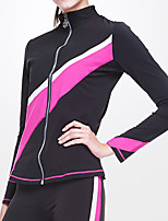 cheap -Figure Skating Fleece Jacket Women's Girls' Ice Skating Jacket Top Pink Glitter Spandex Stretchy Training Skating Wear Warm Classic Crystal / Rhinestone Long Sleeve Ice Skating Winter Sports Figure