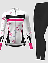 cheap -21Grams Women's Long Sleeve Cycling Jersey with Tights Winter Polyester White Novelty Floral Botanical Bike Jersey Tights Clothing Suit Breathable Quick Dry Moisture Wicking Back Pocket Sports Novelty