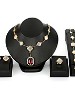 cheap -Women's Red Synthetic Diamond Bridal Jewelry Sets Simple Basic Elegant Earrings Jewelry Gold For Wedding Engagement 1 set