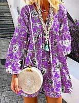 cheap -Women's Swing Dress Short Mini Dress - Long Sleeve Print Print Spring V Neck Casual Lantern Sleeve Loose 2020 Blue Purple Yellow Green S M L XL XXL 3XL 4XL 5XL