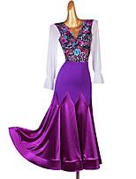 cheap -Ballroom Dance Skirts Pattern / Print Women's Performance Long Sleeve Natural Spandex