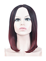 cheap -Synthetic Wig kinky Straight Middle Part Wig Long Silver grey Brown Burgundy Synthetic Hair 16 inch Women's Fashionable Design Ombre Hair Middle Part Burgundy Brown