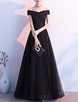 cheap -A-Line Elegant Glittering Wedding Guest Formal Evening Dress Off Shoulder Short Sleeve Floor Length Tulle with Sleek 2020