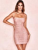cheap -Women's Strap Dress Short Mini Dress - Sleeveless Floral Ruched Print Summer Strapless Sexy Slim 2020 Blushing Pink S M L XL