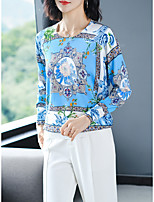 cheap -Women's Stylish Knitted Floral Pullover Long Sleeve Loose Sweater Cardigans Crew Neck Round Neck Fall Black Blue