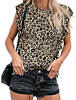 cheap -women leopard print crew neck t-shirt ruffled cap sleeve tops small leopard