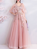 cheap -A-Line Elegant Floral Engagement Formal Evening Dress V Neck Half Sleeve Floor Length Tulle with Beading Appliques 2020