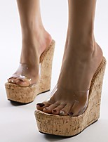 cheap -Women's Sandals Wedge Heel Round Toe Classic Daily Solid Colored Leather Almond