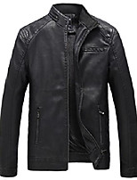 cheap -mens casual stand collar faux leather jacket bomber coat outwear
