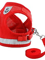 cheap -reflective dog cat vest harness and leash set for kitten small dogs,escape proof mesh puppy harnesses for walking cat and small dogs,red,l size
