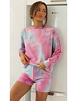 cheap -Women's Basic Tie Dye Two Piece Set T-shirt Pant Patchwork Print Tops / Loose