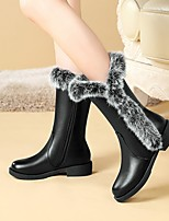 cheap -Women's Boots Cuban Heel Round Toe Casual Daily Solid Colored PU Mid-Calf Boots Black / Gray