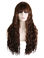 cheap -Synthetic Wig Wavy Asymmetrical With Bangs Wig Long Brown / Burgundy Synthetic Hair 30 inch Women's Fashionable Design Party Exquisite Brown