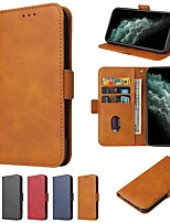 cheap -Case For Apple iPhone 12 / iPhone 11 / iPhone 12 Pro Max Wallet / Card Holder / with Stand Full Body Cases Solid Colored PU Leather