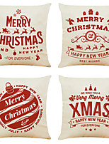 cheap -1 Set of 4 pcs Christmas Series Decorative Linen Throw Pillow Cover 18 x 18 inches 45 x 45 cm