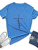 cheap -women's cross faith t-shirt casual short sleeve and long sleeve letter printed summer cute graphic tee tops