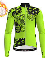 cheap -21Grams Men's Long Sleeve Cycling Jacket Winter Fleece Polyester Black Green Skull Gear Funny Bike Jacket Top Mountain Bike MTB Road Bike Cycling Thermal Warm Fleece Lining Breathable Sports Clothing
