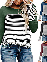 cheap -Women's Sweatshirt Patchwork Crew Neck Cotton Color Block Stripes Sport Athleisure Pullover Long Sleeve Warm Soft Comfortable Everyday Use Daily General Use
