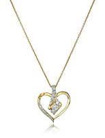 """cheap -18k yellow gold over sterling silver diamond heart pendant necklace (1/4 cttw), 18"""""""