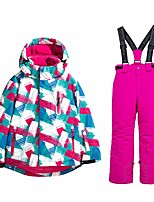 cheap -girl's ski jacket and pants snow insulated suit windproof & waterproof (new pink, 4)