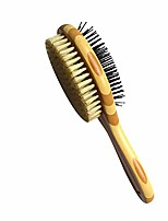 cheap -double-sided pin & bristle brushes for dogs & cats, pets grooming comb with handle, cleaning pets shedding and dirt for long hair & short hair, deshedding tool (bamboo handle)