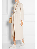 cheap -Women's Fall & Winter Coat Long Solid Colored Daily Basic Beige S M L XL