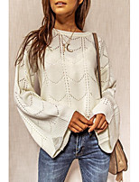 cheap -Women's Basic Hollow Hollow Out Solid Color Plain Pullover Long Sleeve Loose Sweater Cardigans Crew Neck Round Neck Fall Winter White