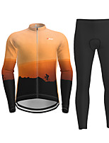 cheap -Men's Long Sleeve Cycling Jersey with Tights Orange Novelty Bike Breathable Quick Dry Moisture Wicking Sports Novelty Mountain Bike MTB Road Bike Cycling Clothing Apparel / Micro-elastic