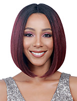 cheap -Synthetic Wig Natural Straight Middle Part Wig Short Wine Red Synthetic Hair 12 inch Women's Ombre Hair Middle Part Burgundy