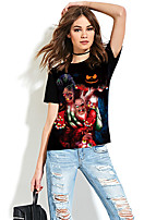 cheap -Women's Halloween T-shirt Graphic Prints Skull Print Round Neck Tops Basic Halloween Christmas Basic Top Black