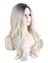 cheap -Synthetic Wig Wavy Loose Curl Middle Part Wig Long Black / Gold Synthetic Hair 28 inch Women's Fashionable Design Party Exquisite Black / Blonde