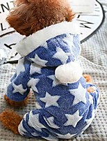 cheap -dogs cats star pattern hooded jumpsuit pajamas,pet winter warm clothes (m, blue)