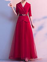 cheap -A-Line Minimalist Vintage Wedding Guest Formal Evening Dress V Neck Half Sleeve Floor Length Spandex Tulle with Sash / Ribbon 2020