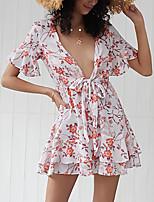 cheap -Women's Shift Dress Knee Length Dress - Half Sleeve Floral Summer V Neck Mumu Holiday Going out 2020 White S M L XL XXL
